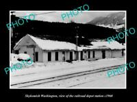 OLD LARGE HISTORIC PHOTO OF SKYKOMISH WASHINGTON, THE RAILROAD DEPOT c1960