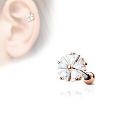 """1pc Five CZ Gem Triangle Flower Steel Tragus Cartilage Barbell Ring 16g 1/4"""""""