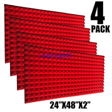 4 Pack RED Acoustic Foam Sound Absorption Pyramid Studio Treatment Wall Panels