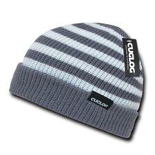 Heather Gray White Knit Warm Winter Skull Ski Sailor Beanie Beanies Cap Hat Hats