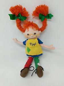 "16"" PIPPI LONGSTOCKING cloth soft toy plush doll Astrid Lindgren Omega Toys"