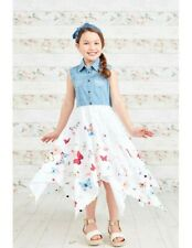 Girls Kid Party Sleeveless Denim Top Butterfly Paisley Print Hanky Summer Dress