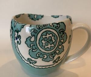 Anthropologie GLORIOSA Light Green Moroccan Mandala Freeform Mug Cup Euc