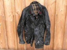 Ancienne veste en cuir de sapeurs-pompiers  doublure interne déchirée