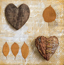 4 Motivservietten Servietten Napkins Tovaglioli Herbst Herz Blatt (945)