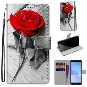For Huawei Y7 2019 Cute Painted Magnetic Leather Flip Wallet Bracket Case Cover