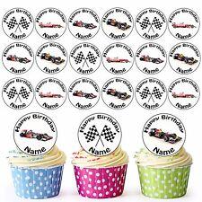 Formula 1 Mix 24 Personalised Pre-Cut Edible Circles Birthday Cupcake Toppers