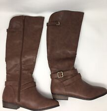 Material Girl MG35 Carleigh Brown Knee High Riding Boot NWD Size 10M