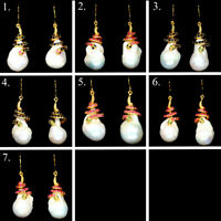 NATURAL WHITE BAROQUE PEARL SAPPHIRE RUBY EMERALD EARRINGS 925 STERLING SILVER