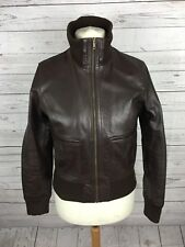 Women's NEXT Leather Bomber Jacket - UK12 - Brown - Great Condition