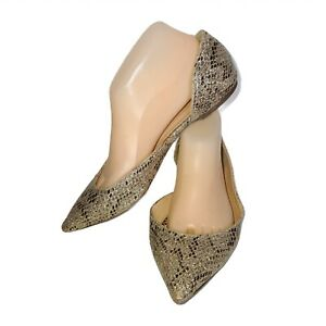 J. Crew Womens Audrey Glitter Snakeskin Print D'Orsay Pointed Toe Flats Size 8