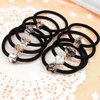 10x Women Black Elastic Hair Ties Bands Ring Ropes Ponytail Holder Accessories