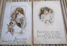2 VICTORIAN 1910 GIBSON GIRL VALENTINE POST CARD-GIBSON ART CO-PORTRAIT STYLE