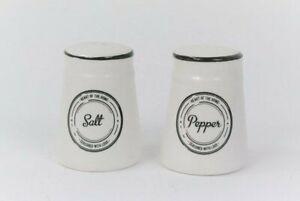 Salt Pepper Pots Condiment set Seasoned with Love White and Black ceramic