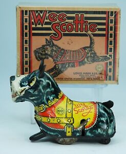 MARX WEE RUNNING SCOTTIE: 1930s. 5 ½ inches long.-NO RESERVE-WORKS GREAT