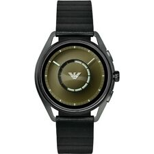 Emporio Armani Mens Smartwatch with Leather Strap Touchscreen GPS Heart Rate