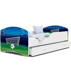 Bett Babybett Kinderbett Jugendbett Fußball Weiß mit  Matratze + Schublade