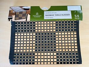 BAMBOO Black Checkered 54-Inch Decorative Table Runner