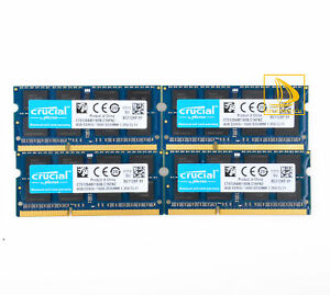 For Crucial 4X 4GB 2RX8 PC3L-12800S DDR3 1600Mhz 204Pin Laptop Memory RAM @dd