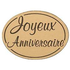 lot 50 etiquettes stickers marron beige joyeux anniversaire  neuf