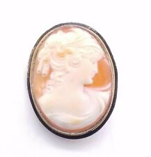Shell Brooch/ Pendant Sss374 Vintage Sterling Silver Cameo Carved