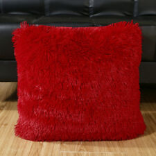 Sofa Faux Fur Cushion Covers Throw Pillow Case Soft 43x43cm Home Decor 04 Red