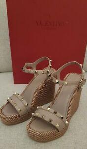 Valentino Rockstud Wedge Sandals Nude 35/ UK 2
