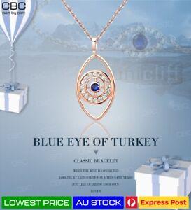Greek Turkish Evil Eye Protection Positivity Pendant Rose Gold Blue Lucky Charm