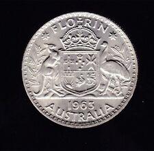 1963 Silver Florin Coin Australia Queen Elizabeth C -126