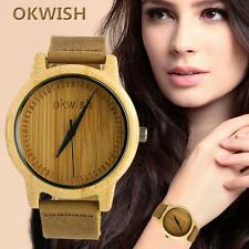 OKWISH Wooden Watch Unique Real Hand Crafted Style Natural Wood Leather 02# SP
