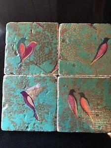 Stone Tile Vintage Bird Handmade Coasters