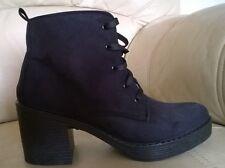 TOPSHOP Black Faux Suede Laced Ankle Boots - Uk  Size 7 Eu 40 - NEW