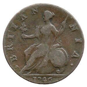 KM# 579 - Half Penny - 1/2 - George II - Great Britain 1746 (Fair)