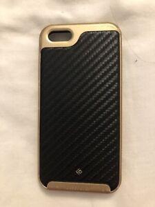 Caseology Envoy Iphone 5s / SE Case Premium Leather - Carbon Fiber Black / Gold