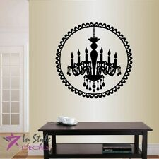 Vinyl Decal Chandelier in Antique Baroque Circle Mural Frame Wall Sticker 1379