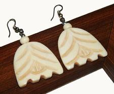 Handmade Tibetan Jewelery Earrings Qsj57 925 Silver Plated Horn/Wood Carving