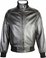 Mens Classic 100% Real Leather Tough Riders Bomber Jacket - Dark Brown
