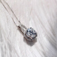 Sapphire Silver Round Jewelry Women's White Choker Pendant Clavicle 925 Necklace