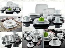 30PC Complete Dinner Set Square Plates Cups Saucers Crockery Ceramic Dinning Set