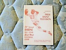 1958 EAST WEST SHRINE GAME MEDIA GUIDE Program BOYD DOWLER College Football AD