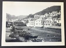 """POLPERRO HARBOUR Vintage 2.5"""" x 3.5"""" 1958 PHOTOGRAPH Houses CORNWALL Boats 596"""
