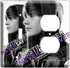 JUSTIN BIEBER NEVER SAY LIGHT SWITCH OUTLET COVER PLATE