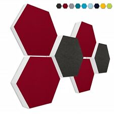 Basotect ® G+ /  6 Akustik Elemente Honeycomb ANTHRAZIT + BORDEAUX / 3D-Set #010