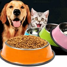 Pet Dog Stainless Steel Bowls Puppy Cats Food Drink Water Feeder Non-slip Dishes
