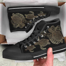 Sea Turtle Lover Men's And Women's High Top Shoes - Custom Turtle Canvas Shoes