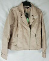 BACCINI Women's XL Petite Beige Moto Motorcycle Jacket Faux Leather New with Tag