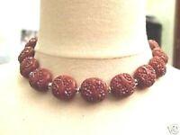 Joli collier perles en résine marron bijou vintage petites perles couleur or C5