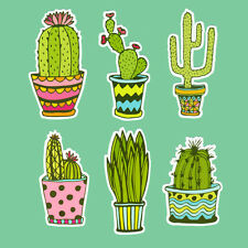 Cactus Plants Sticker Bomb Vinyl Decal 6x Pack Set Cute Succulent Cacti Drawing