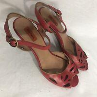 Miz Mooz Wonder Red Leather Ankle Strap Peep Toe High Heel Sandals Size 10