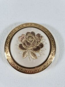 Gold Compact Mirror - Rose Embroidery, Immaculate